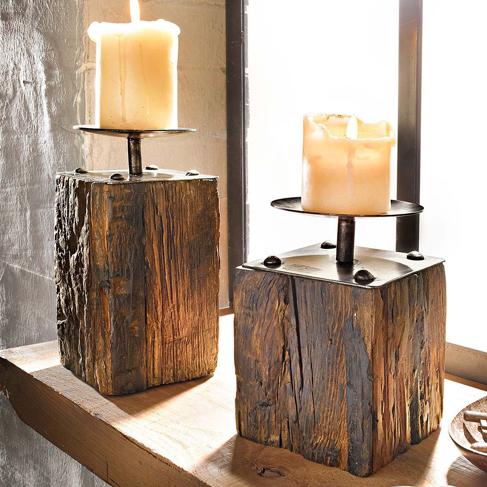 2 tlg kerzenhalter set wood kerzenst nder dekost nder deko pinienholz neu in m bel wohnen