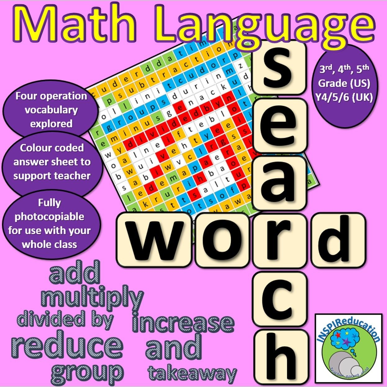 Four Operation Vocabulary Word Search