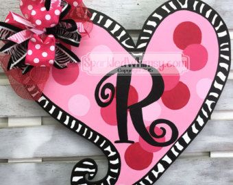 zebra print valentine door hanger monogram valentine door decor wood heart initial door