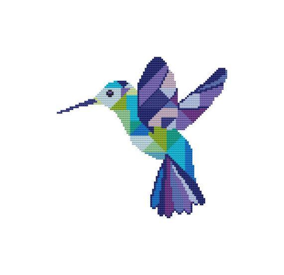 PDF cross stitch pattern, modern cross stitch Hummingbird, colibri ...