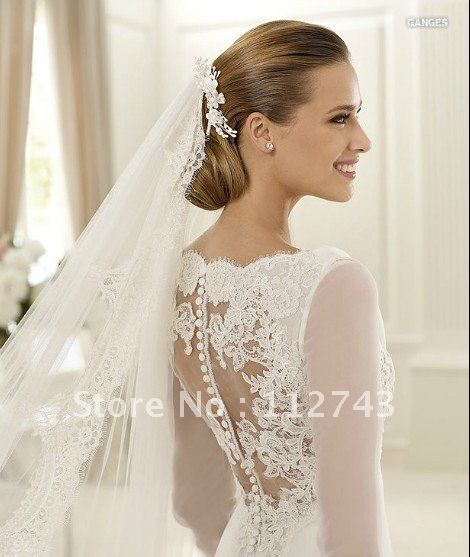 Simple Pretty Elegant Silky Organza Court Train Pleats Applique Lace Mermaid Jewel Long sleeves Wedding Dress