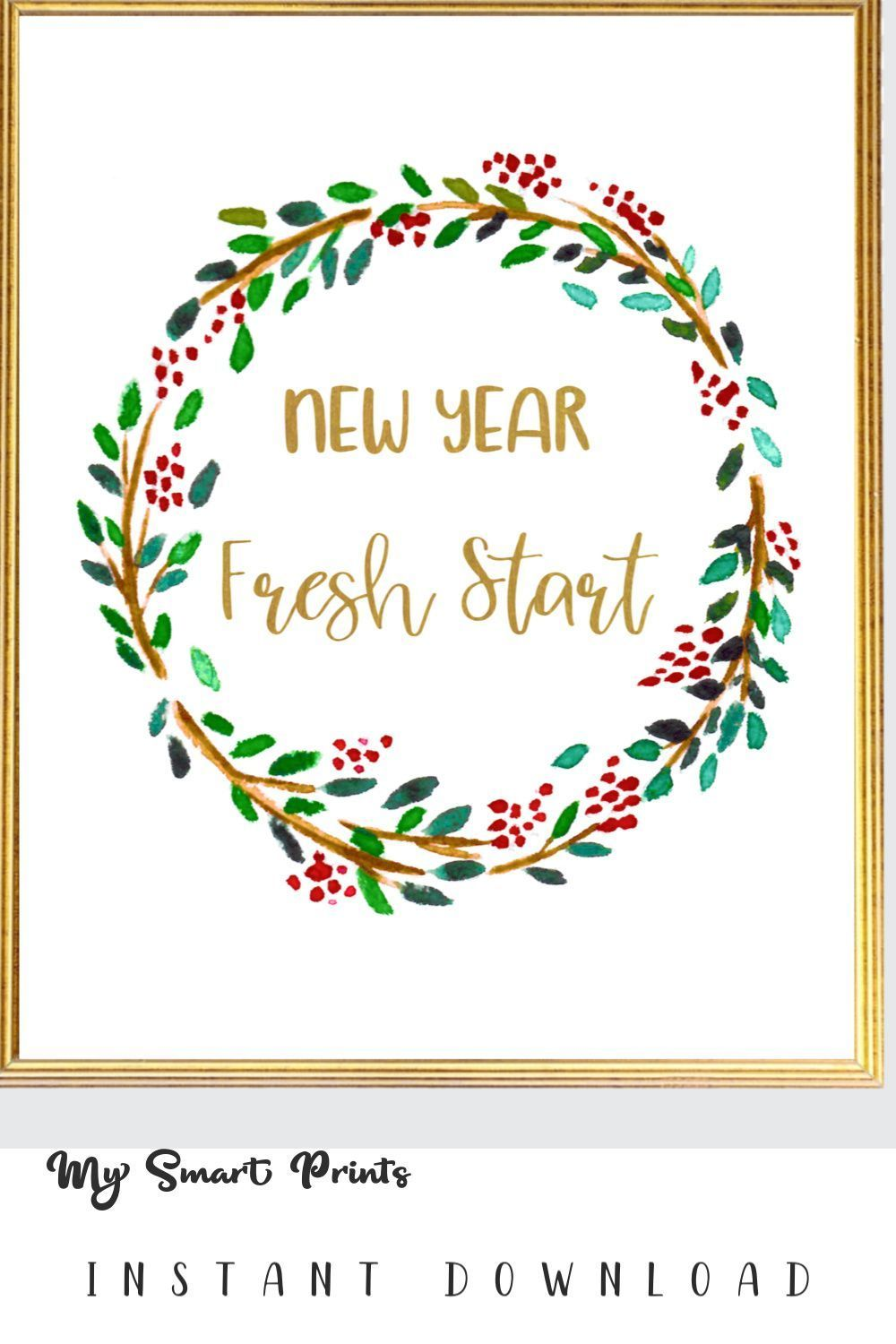New Year New Start Holiday Inspirational Printable Wall Art, Green Red Wreath New Year Wall Decor,  #Art #Decor #Green #Holiday #inspirational #Printable #professionalofficeinspirationdecor #Red #Start #wall #Wreath #Year