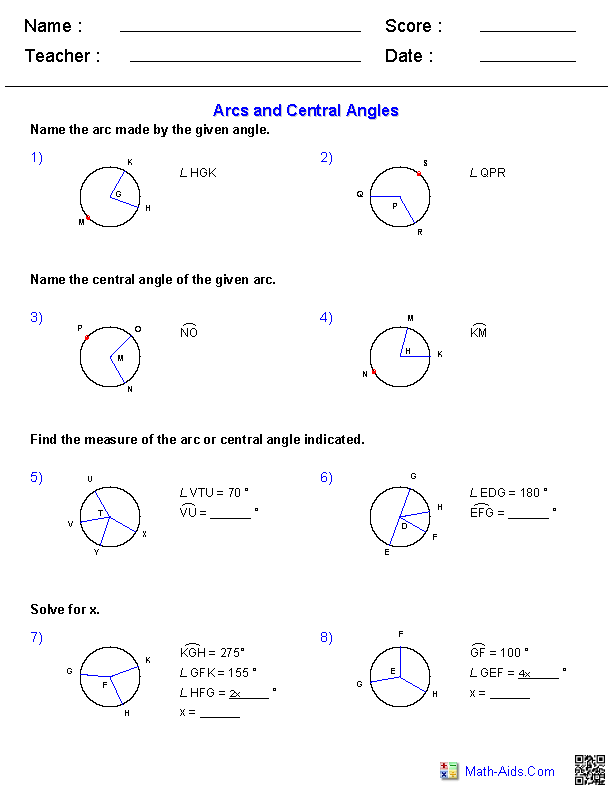 Working with Arcs and Central Angles Worksheets | Math-Aids.Com ...