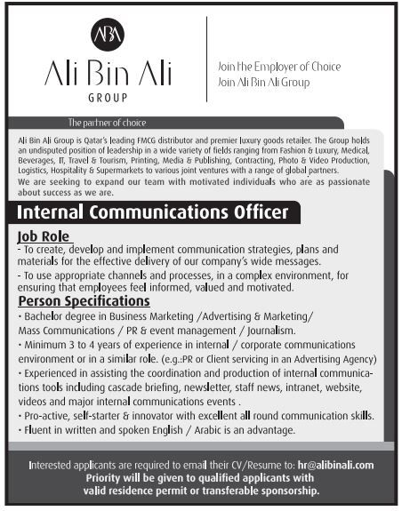 QATAR  Internal Communication Officer Jobs Pinterest Job - logistics officer job description