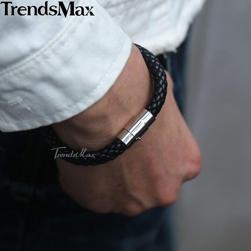"""8.5/""""BIKER MEN Stainless Steel 8mm Gold Black Braided Leather Magnetic Bracelet"""