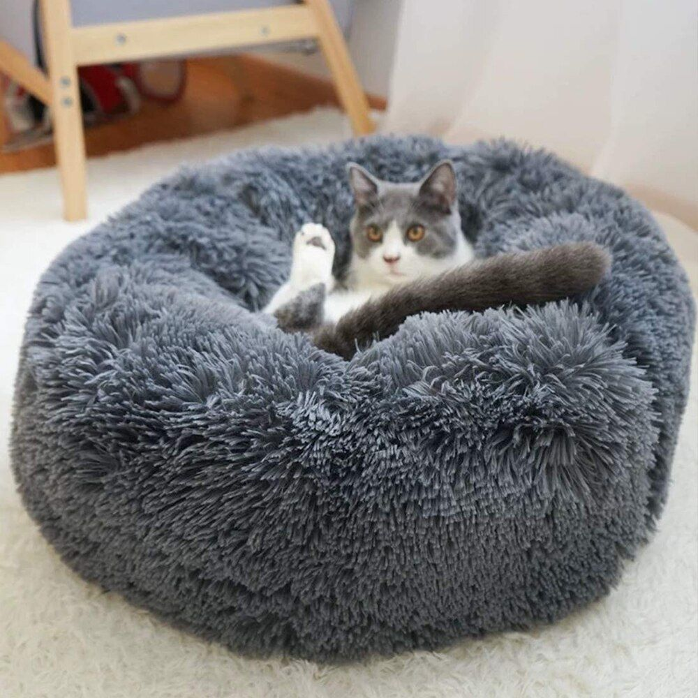 Cat Bed Cushion Mat Faux Fur Self Warming Pet Cat And Dog Bed Round Plush Anti Slip Cat Nest House Deep Sleeping Bed Dog Bed Pet Beds Bed Cushions