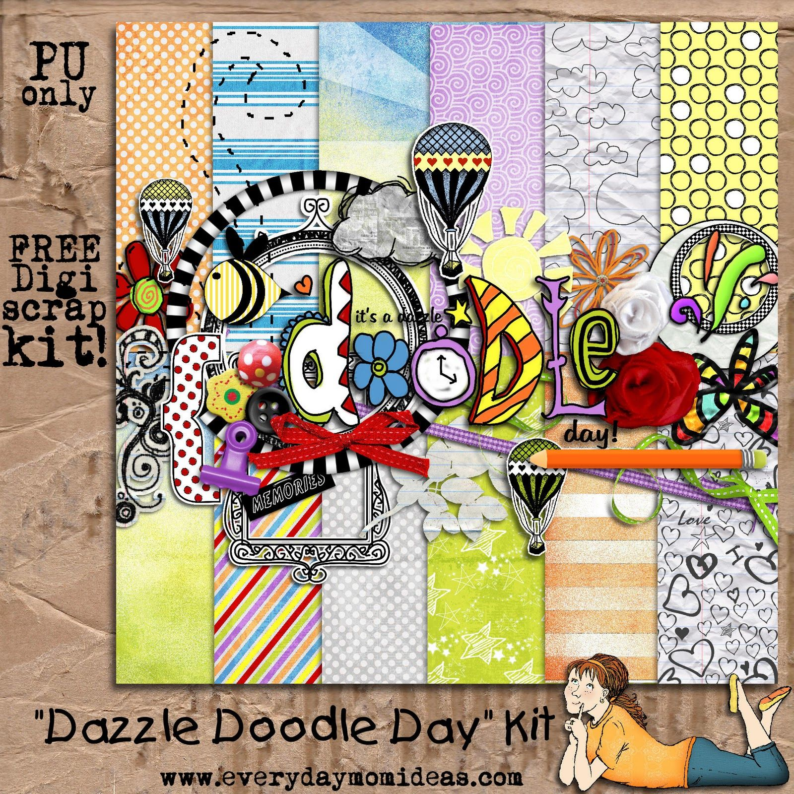 Dazzle Doodle Day Quick Page Digital Scrapbooking Freebie