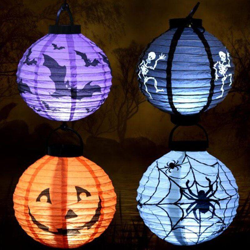 Halloween Decoration LED Paper Pumpkin Light Hanging Lantern Lamp