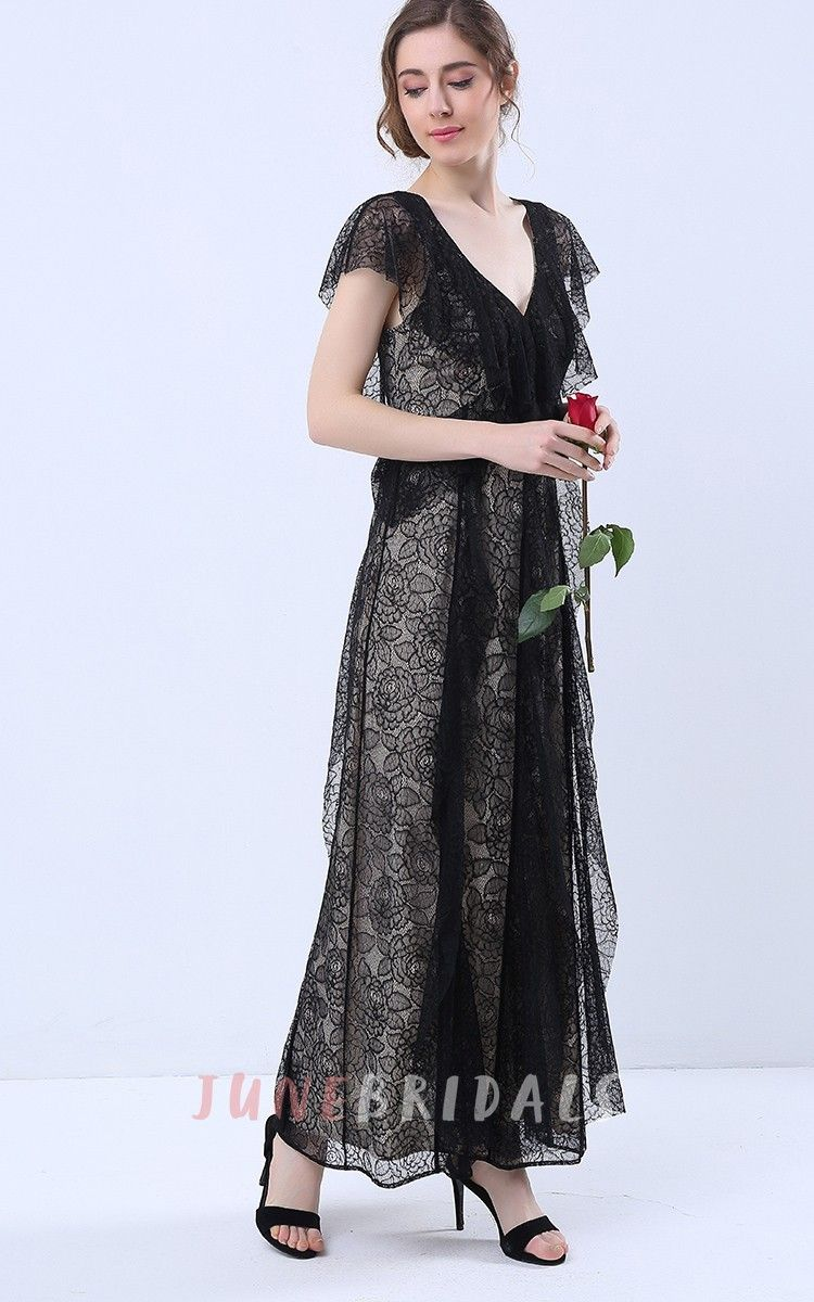 Maxi dress for wedding  Cap Sleeve VNeck Maxi Dress with Lace Frills  Ideas for Parties