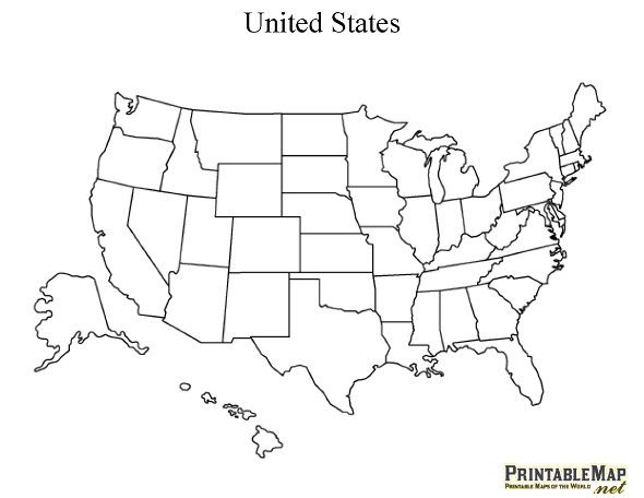 Printable Map of the United States | United states map, Map ...