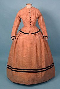 Apricot Wool Day Dress, Vermont, 1860s