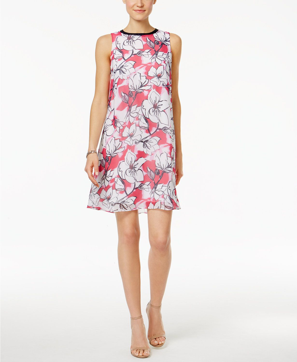 SL Fashions Floral-Print Shift Dress | macys.com | Macy's ...
