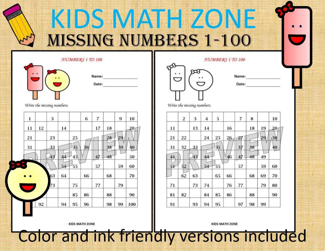 Missing Numbers 1 To 100 Printable Worksheets