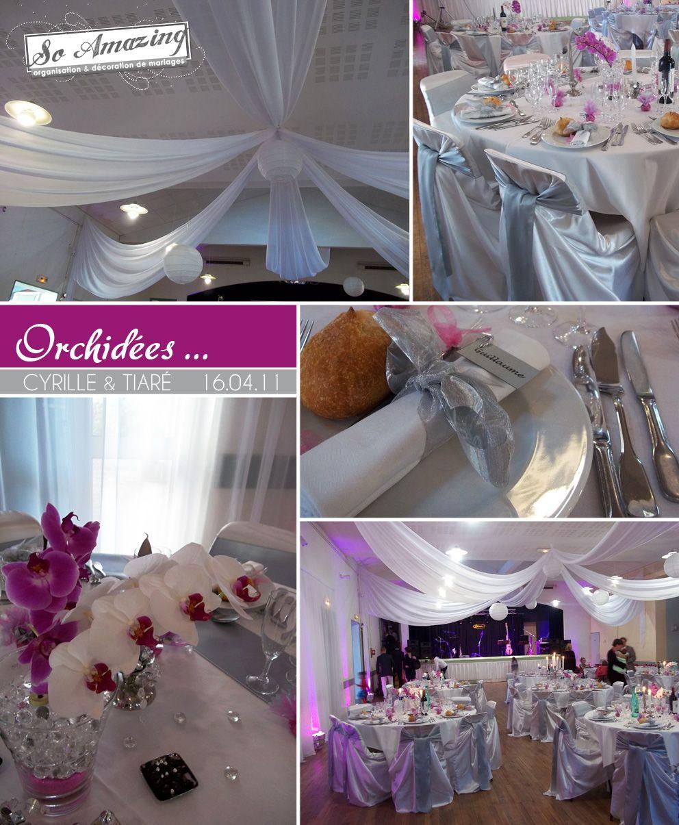 Idées centre de table mariage fleurs orchidées  Rose fushia violet