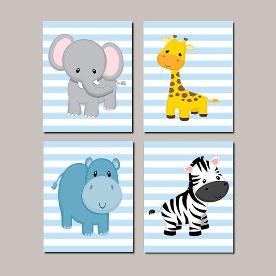 Jungle Animals Nursery Wall Art Prints Or Canvas Zoo Safari Baby Elephant Giraffe Hippo Zebra Set Of 4