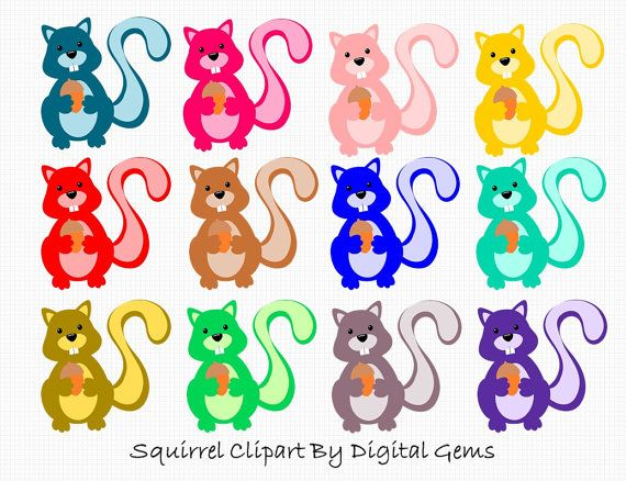 This is a fun clipart kit containing 12 very cute squirrel ...