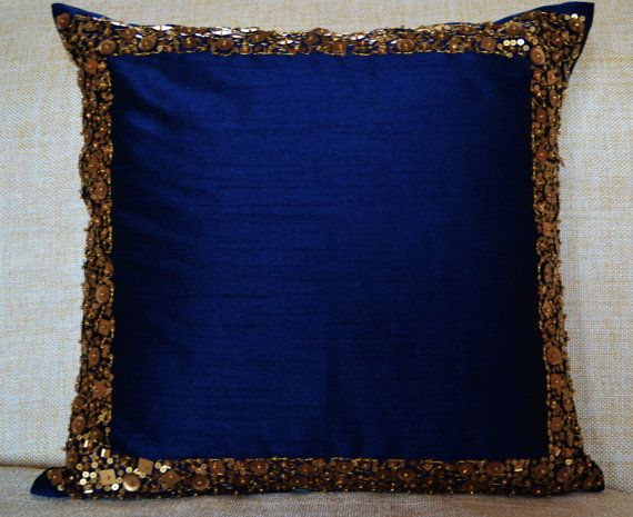 Throw Pillows Navy Blue Cushion With Gold Sequin By AmoreBeaute Custom Navy Blue And Gold Decorative Pillows