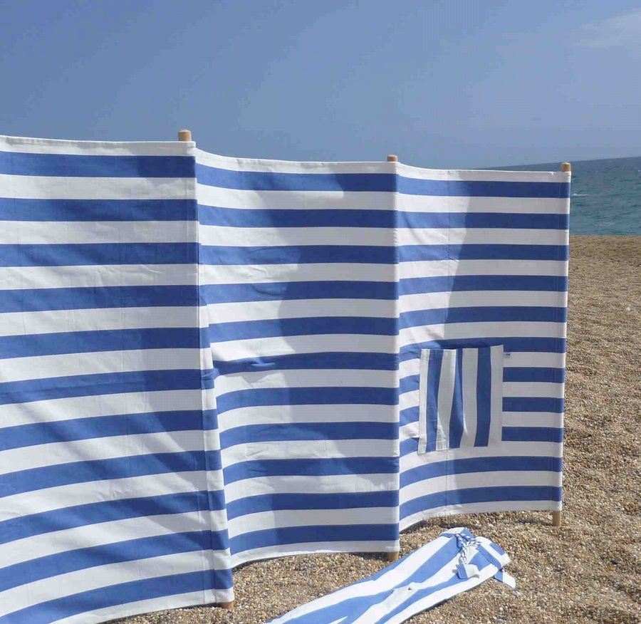 Cotton Windbreak & Carry Bag (5 pole) - Bleu et Blanc £75.00 - Windbreaks Beach bags | Beach towels | Windbreak | Beach chairs | Beach parasols | Beach Tents | Beach Toys | Deckchairs - The Seaside Company