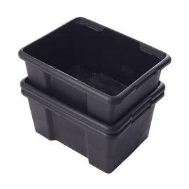 Lot De 3 Bacs Noirs 30 L Bac De Rangement Caisse Rangement Bac
