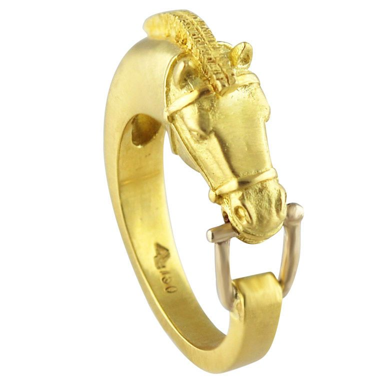 Lipten Yellow White Gold Horse W Bit Ring Horse White gold and