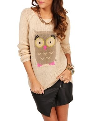 Tan/Mocha Owl Sweater