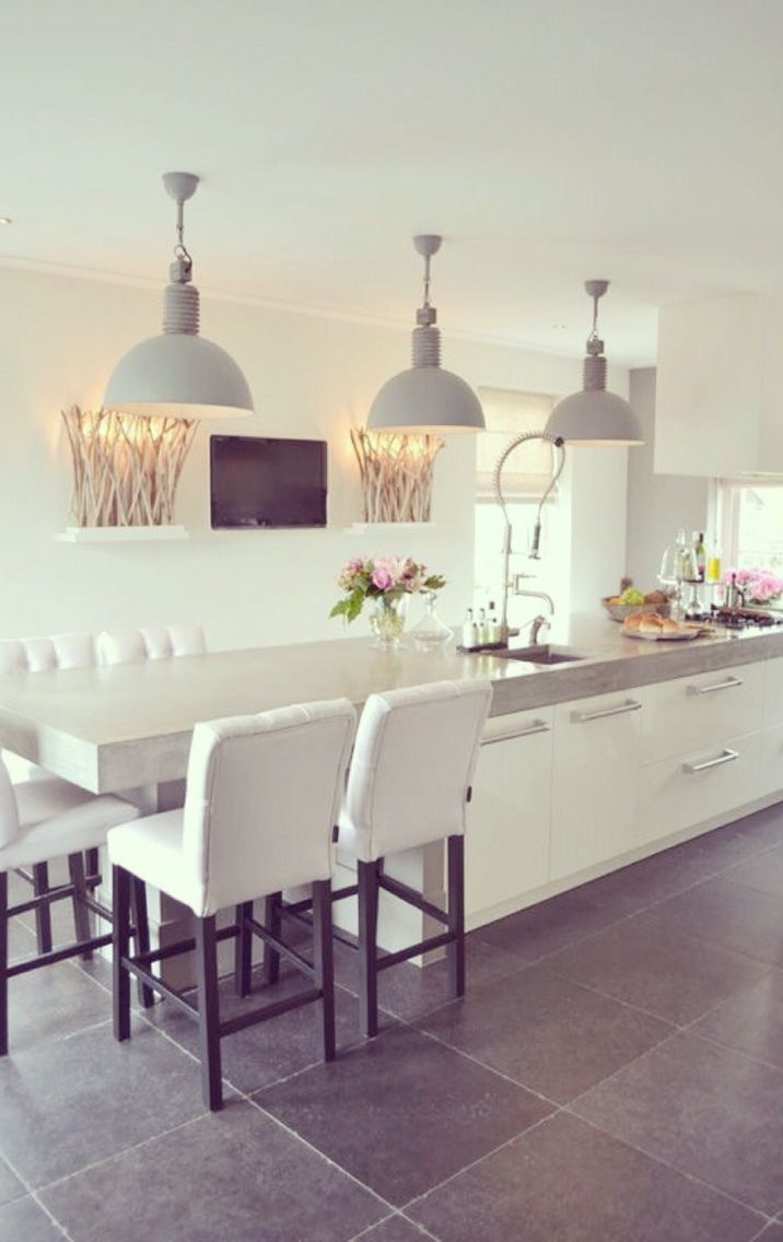 Grey pendant lights extended dining space the stuff of dreams
