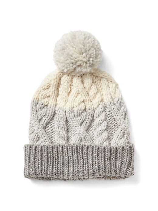 547a6b2cfe2 Gap Womens Cable-Knit Pom Beanie Neutral Colorblock