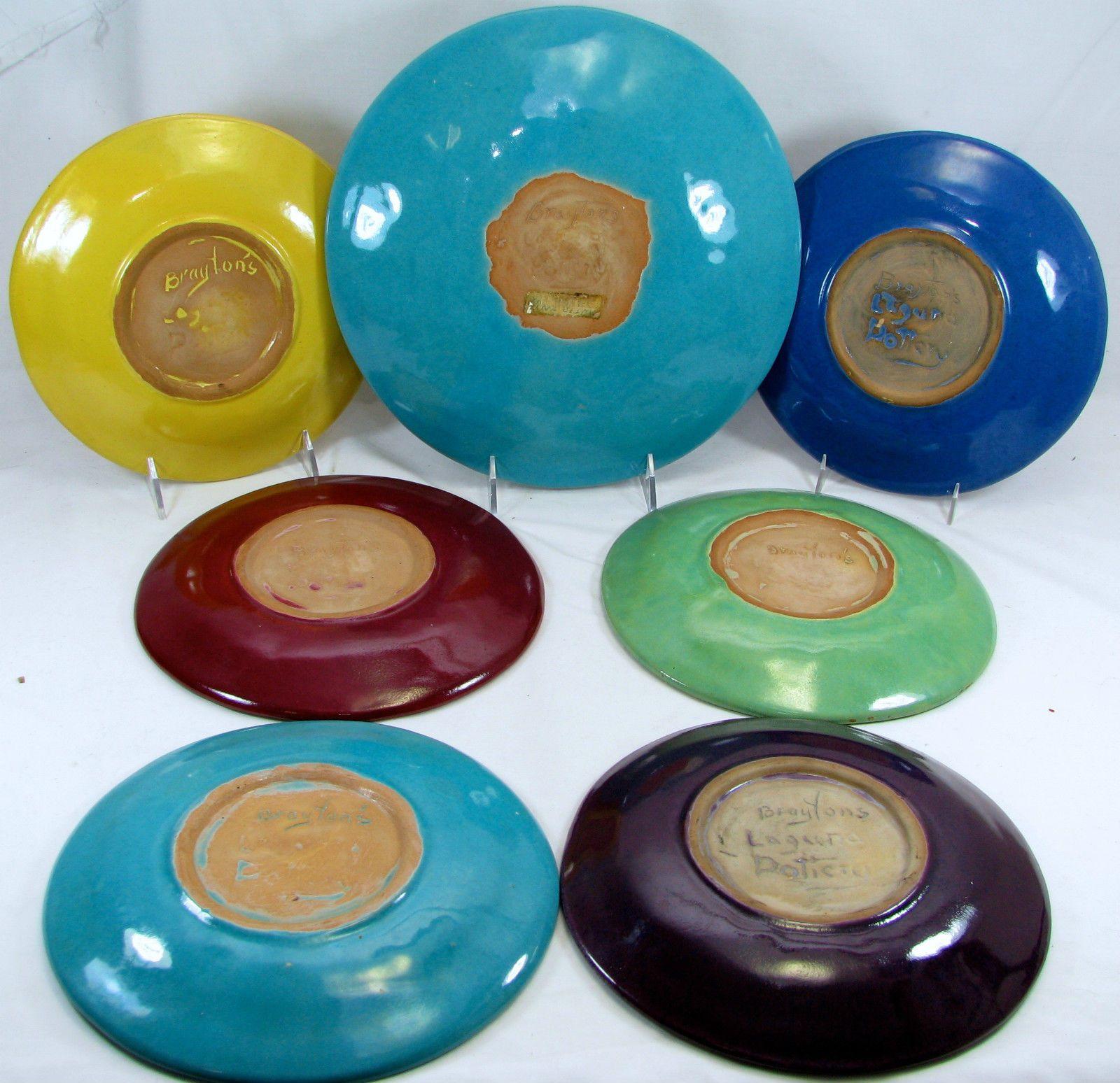 California pottery solid color dinnerware early 1930s Brayton Laguna plates each inidually signed. & California pottery solid color dinnerware early 1930s Brayton ...