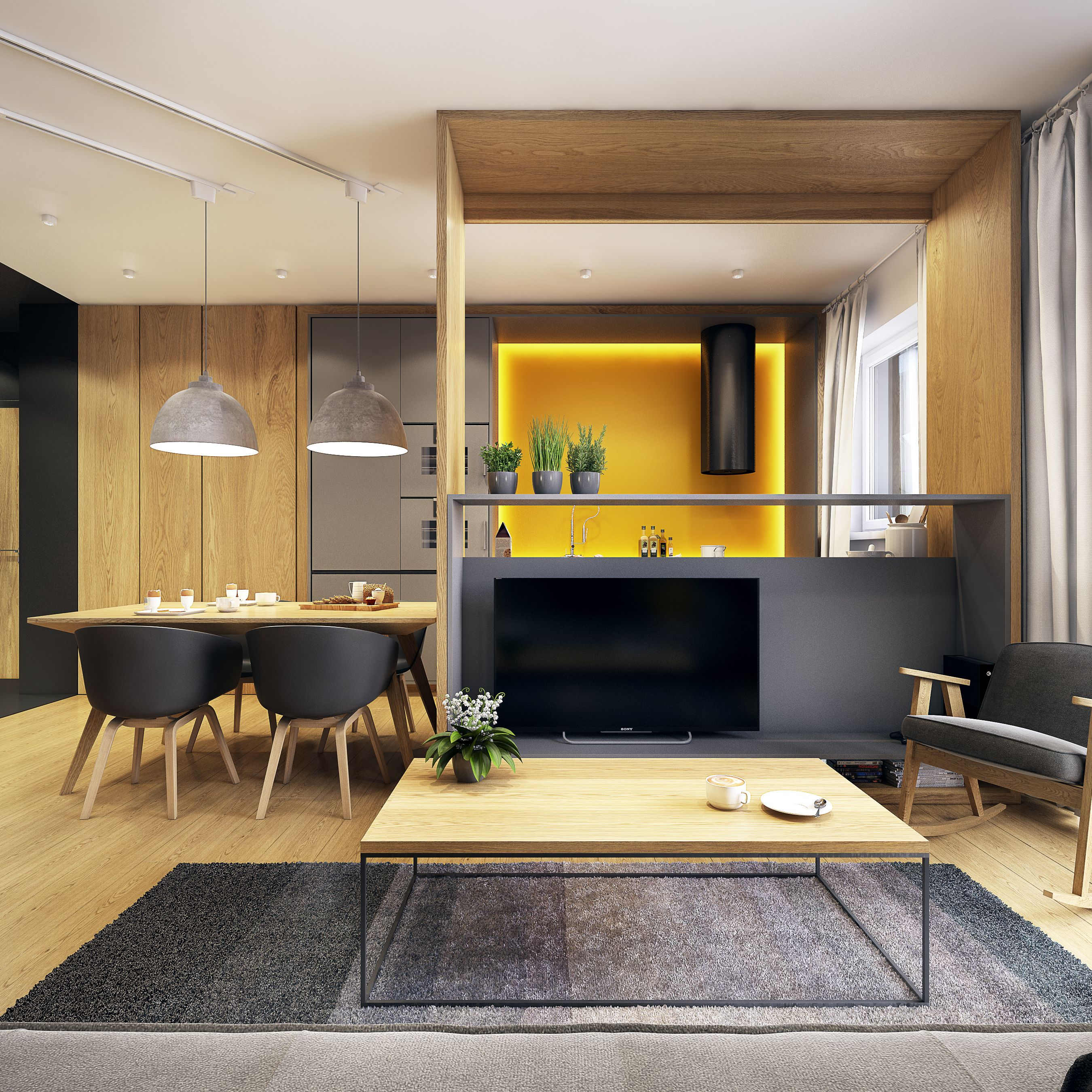 Scale/perspective. The division between kitchen and living space is ...