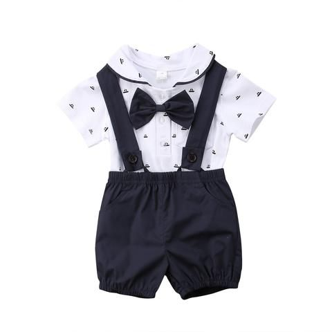 2562c4599 2PCS Newborn Infant Baby Boy Clothes Set Bodysuit Tops Overalls Cotton  Summer Gentleman Pants Clothing Set Baby Boys 0-24M