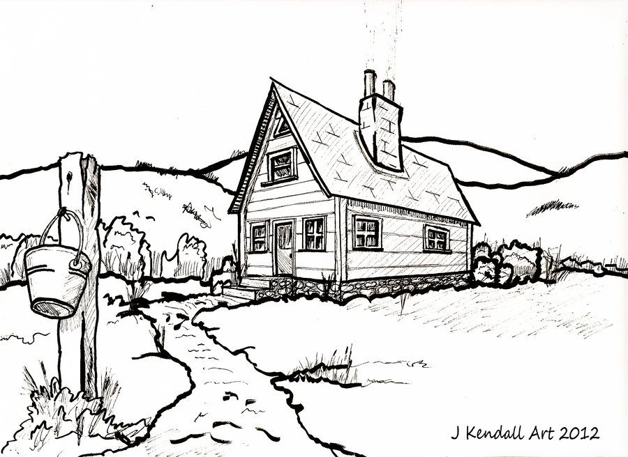 Line Art Images Of Houses : Old country house line drawing by j kendall viantart