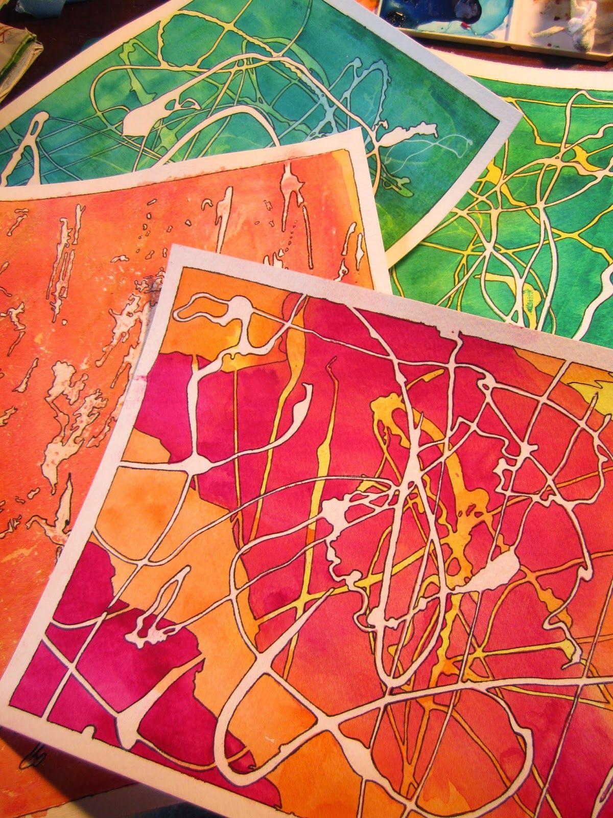 Drawing Near Watercolor Painted Papers With Rubber Cement