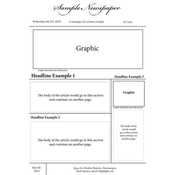 Options For A Nespaper Front Page Layout  Web Ideas