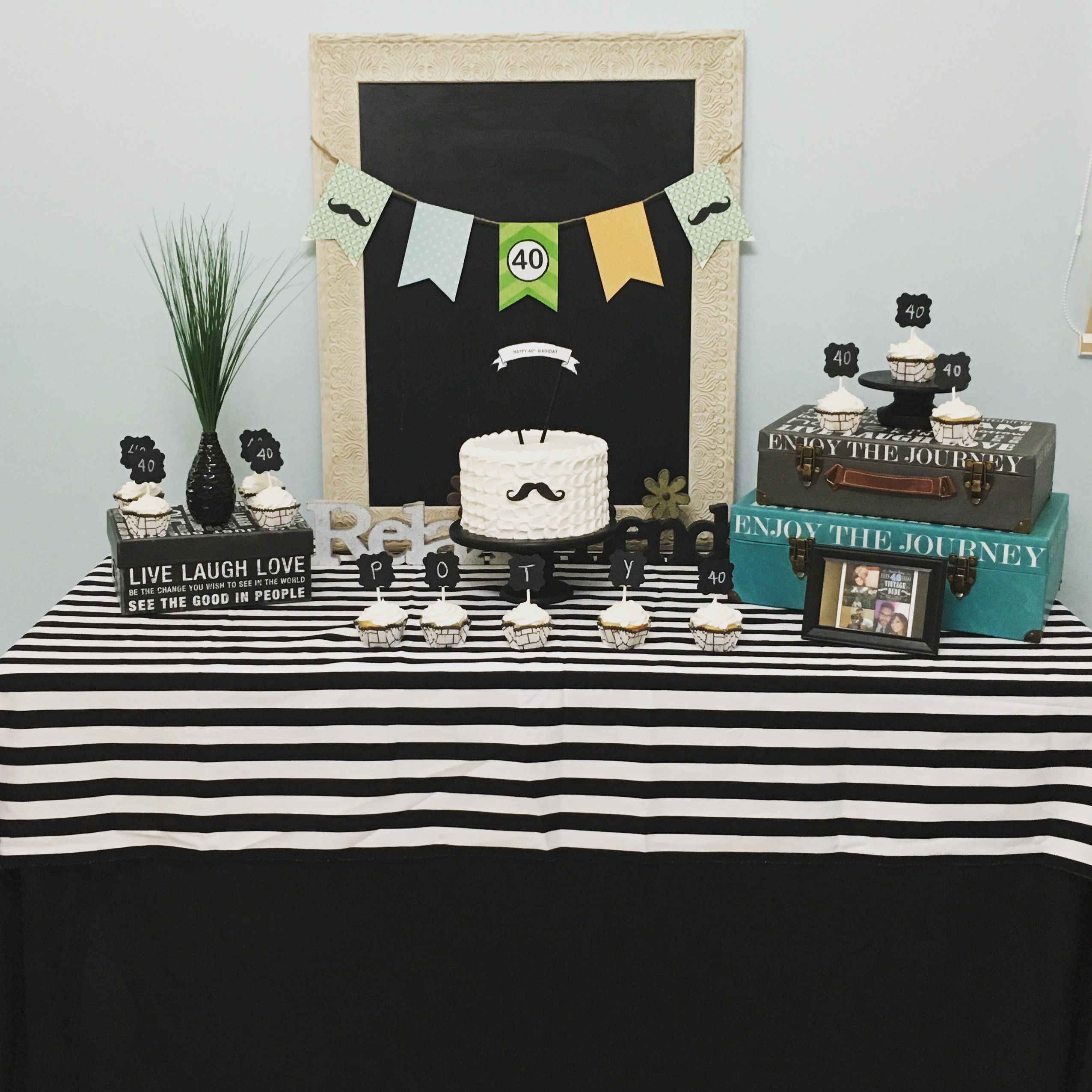 40th Birthday Decoration For Him Mustache Vintage