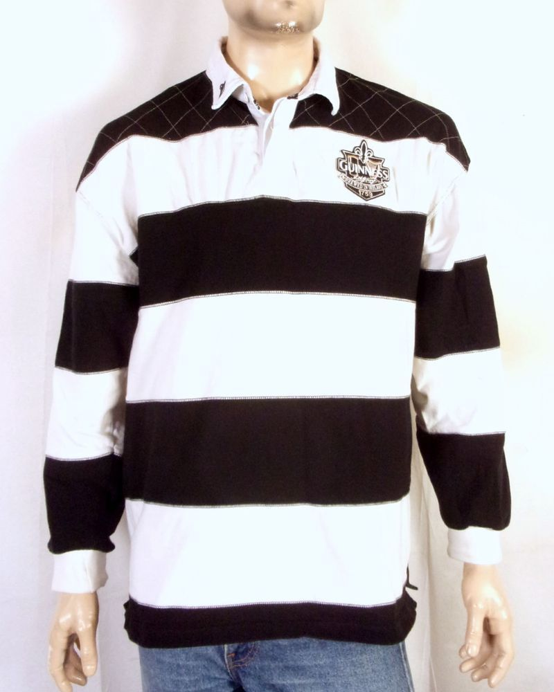 Euc Guinness Lager Beer Black White Striped Rugby Shirt Jersey