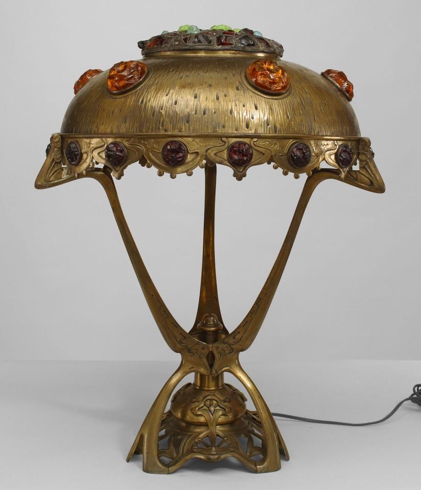 Art Nouveau Hungarian Jeweled Brass Table Lamp Art Nouveau Lighting Art Nouveau Lamps Art Nouveau Furniture