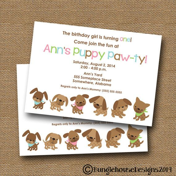 Puppy Party Invitation Puppy Pawty Dog Birthday Party Invite - birthday invitation homemade
