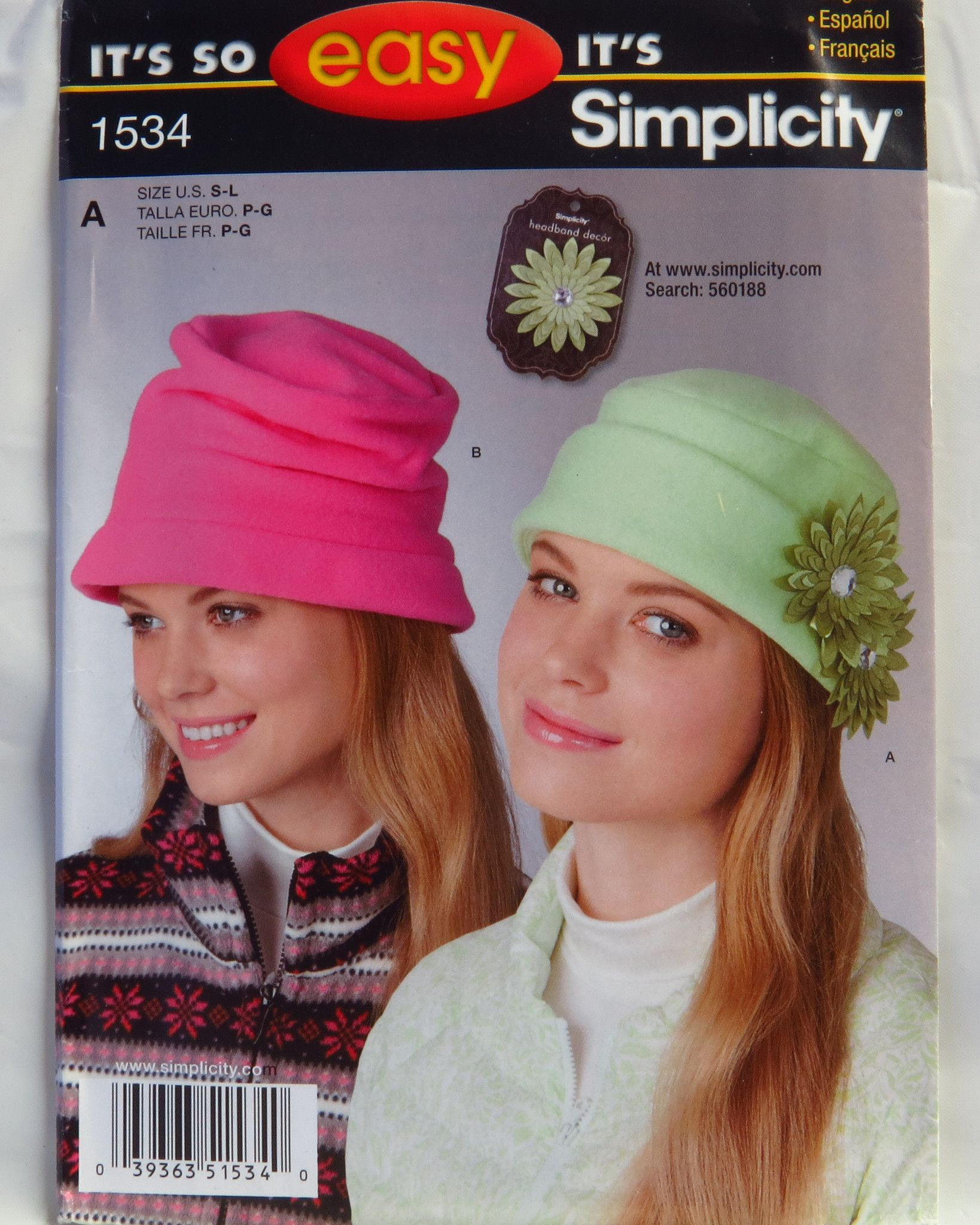 Simplicity 1534 Misses\' Fleece Hats | Hüte und Mütze