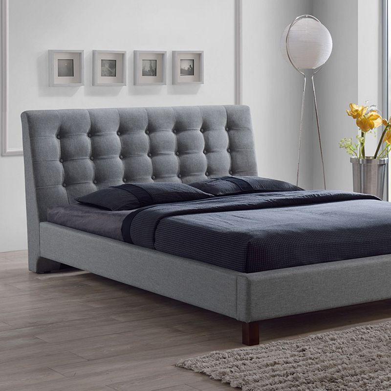 Baxton Studio Zeller Tufted Bed Queen Upholstered Headboard Upholstered Headboard Bed