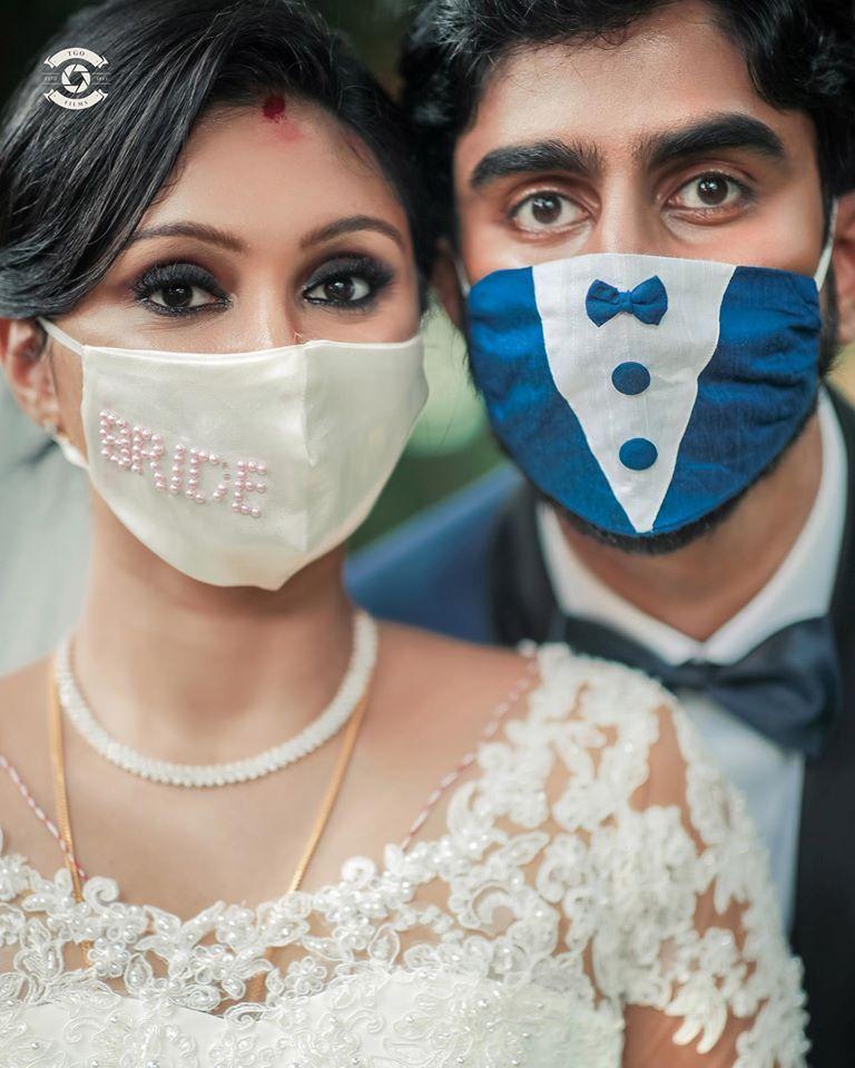 Wedding masks makeshift wedding mask Mask with lace bride and mask groom 2 pcs