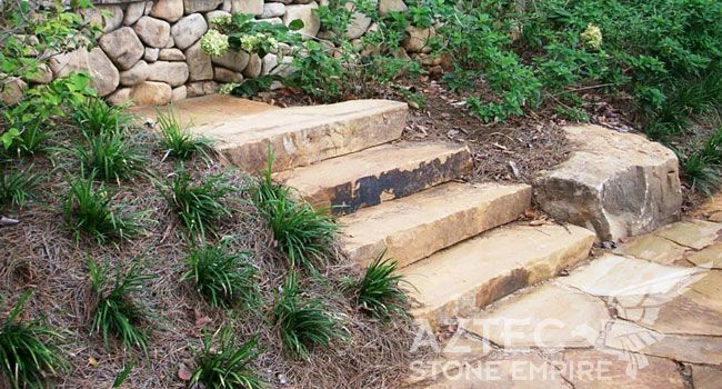 Crab Orchard Step Treads From Driveway To Patio Yard