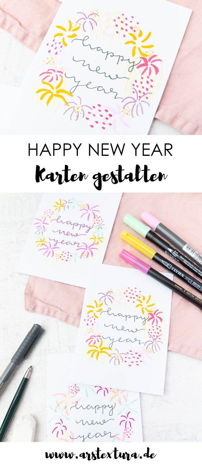 Neujahrskarten mit Handlettering & Feuerwerk  Neujahrskarte