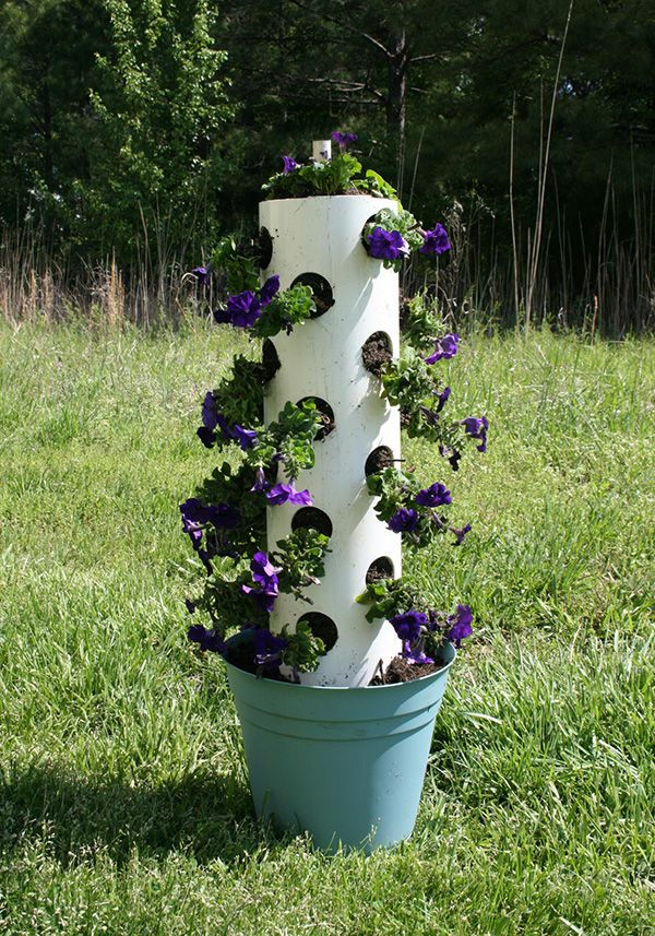 how to make a flower tower using a pvc pipe & how to make a flower tower using a pvc pipe | Gardening Tips ...