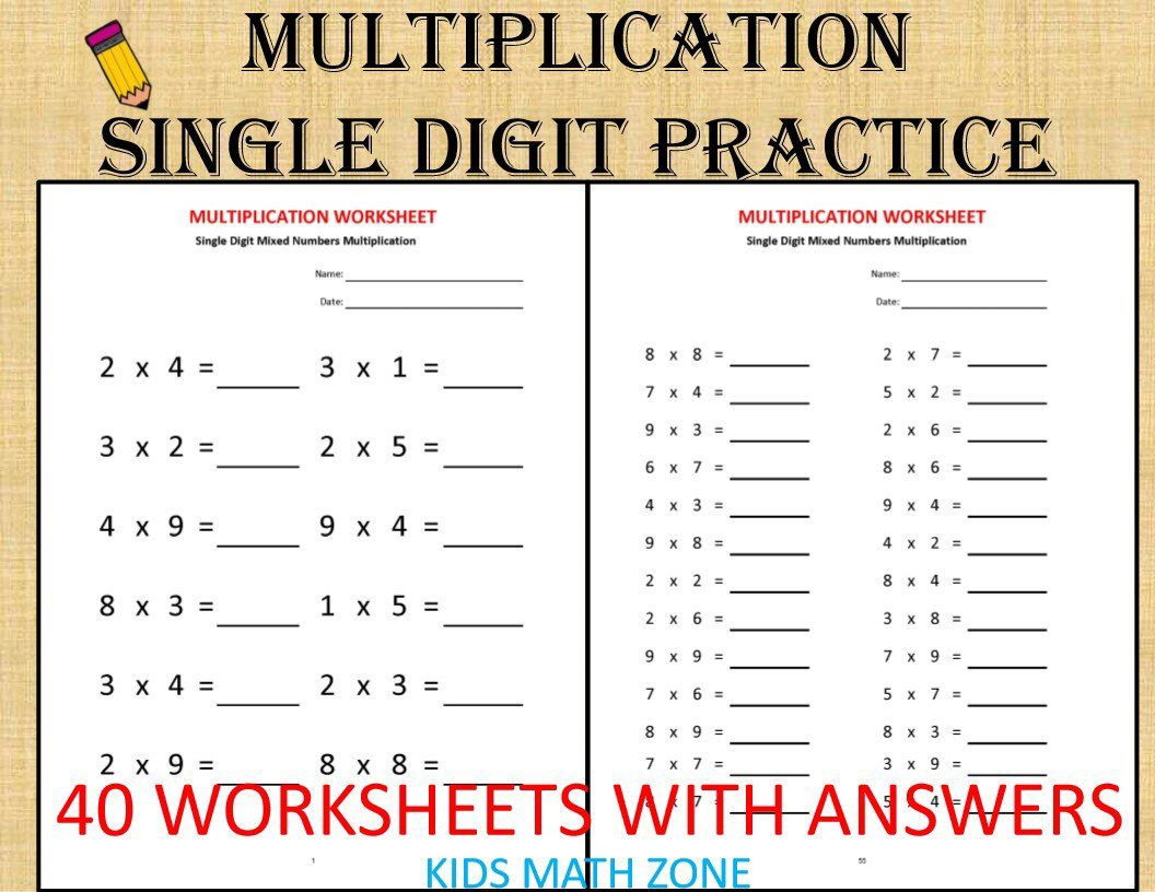 Excited To Share This Item From My Etsy Shop Multiplication Single Digit Practice Worksheets 40 Worksheets With Answers Pdf Year 2 3 4 Grade 2 3 4 Print