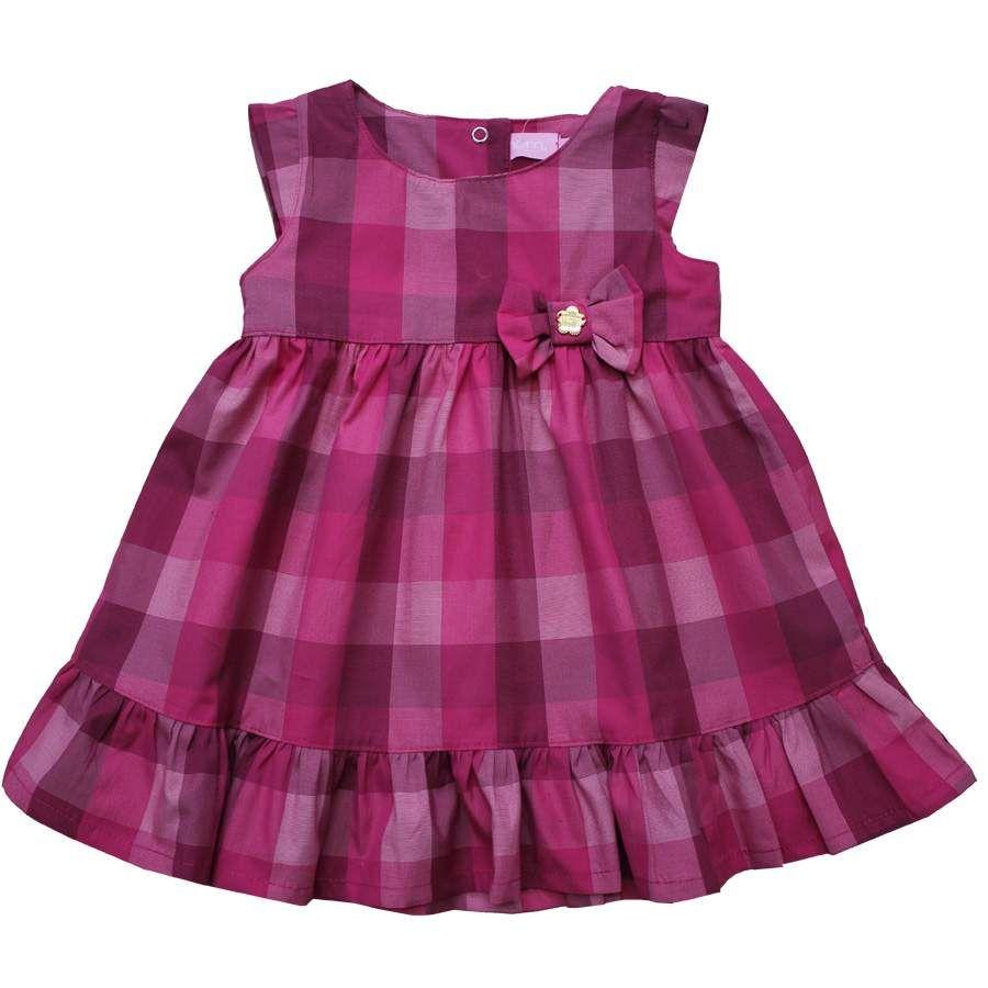 Cegonha Feliz Tamanho 1 ao 3 : Vestido Xadrez Infantil Momi ...