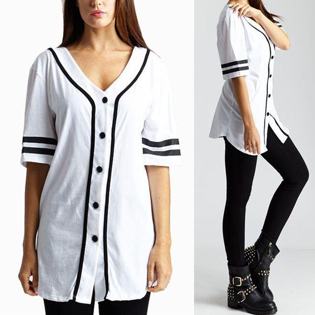 Button Down Baseball Varsity Oversized Sports Jersey Tee Shirt Top