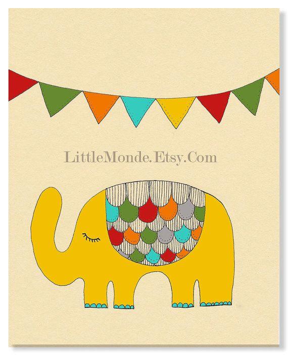 Children\'s Wall Art Print, Baby Boy Nursery Print, Orange Nursery ...