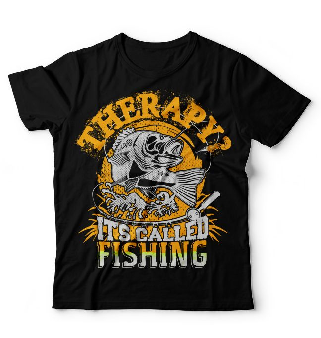 THERAPY ? It's called FISHING High Quality TEE SHIRT DESIGN in .PNG fomat 4500x5400 px with 300 DPI Exclusively ! Click here to buy http://www.astutedesigners.com/shop/therapy-its-called-fishing/