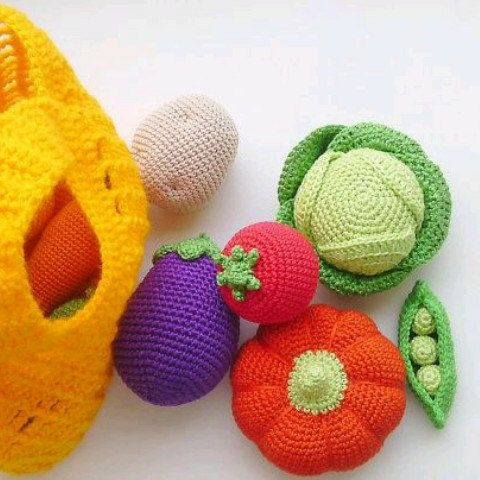 Play Food Set   Crochet Vegetables  Crocheted Fruits  Toy Kitchen  The  Waldorf Toys  Holiday Gifts  Montessori Materials   Eggplant, Carrot