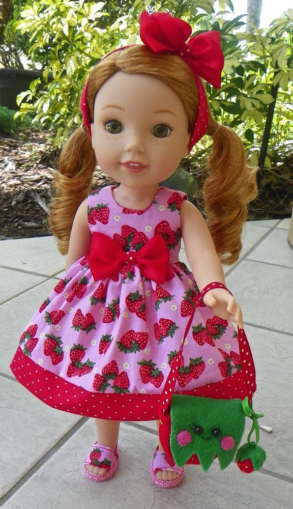 """7pc Wellie Wishers Strawberry delight dress clothes for 14"""" American girl dolls"""
